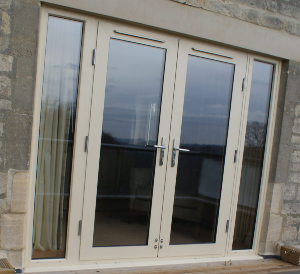 Aluminium French Doors With Glazed Side Panels