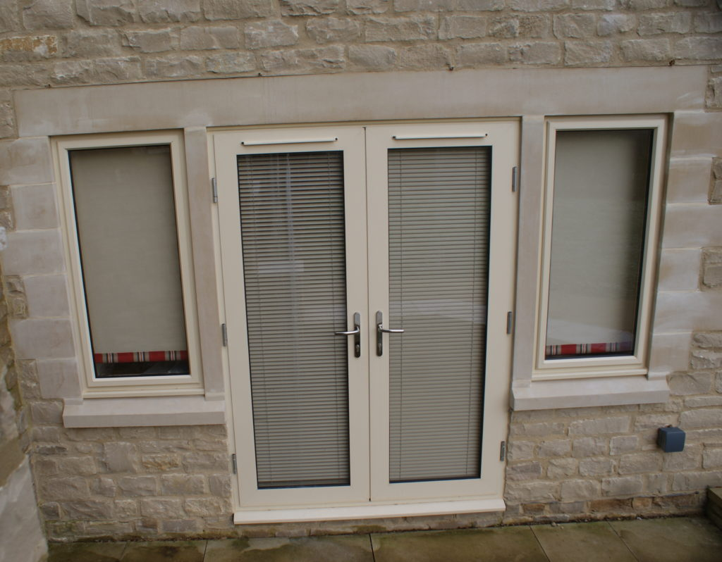 Aluminium French Doors with Glazed Side Windows
