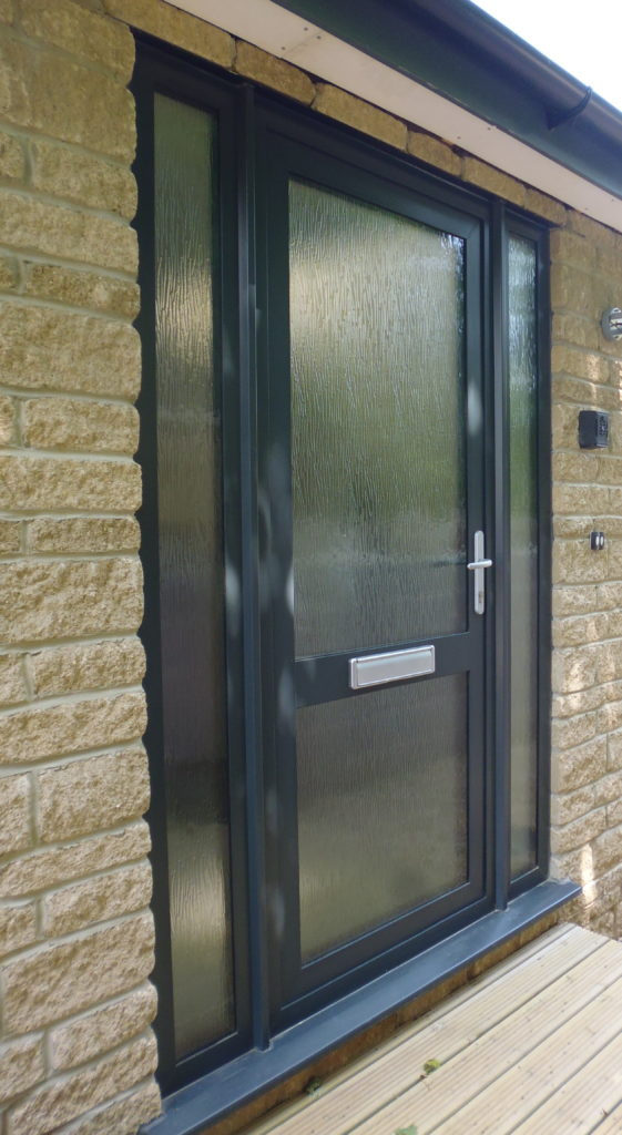 Aluminium Glazed Front Door with Side Panel