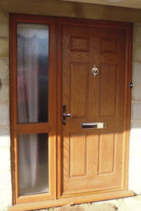 Traditional style composite door and side frame